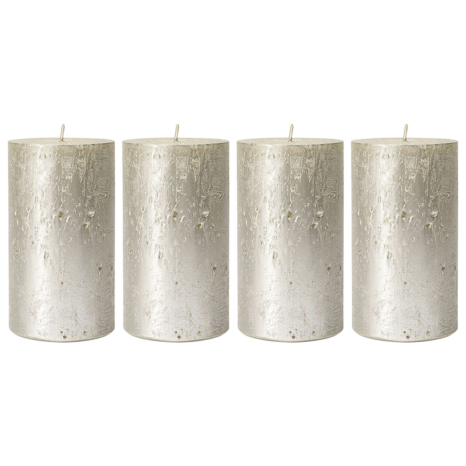 Christmas candles, pearly titanium grey, set of 4, 110x60 mm 3