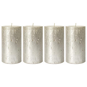 Christmas candles, pearly titanium grey, set of 4, 110x60 mm s1