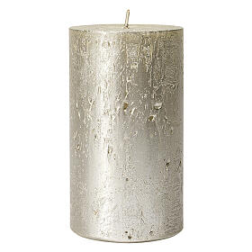 Christmas candles, pearly titanium grey, set of 4, 110x60 mm s2