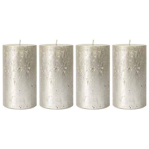 Christmas candles, pearly titanium grey, set of 4, 110x60 mm 1
