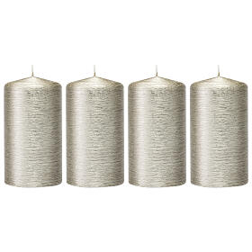 Christmas candles, satin silvery grey, set of 4, 150x60 mm s1