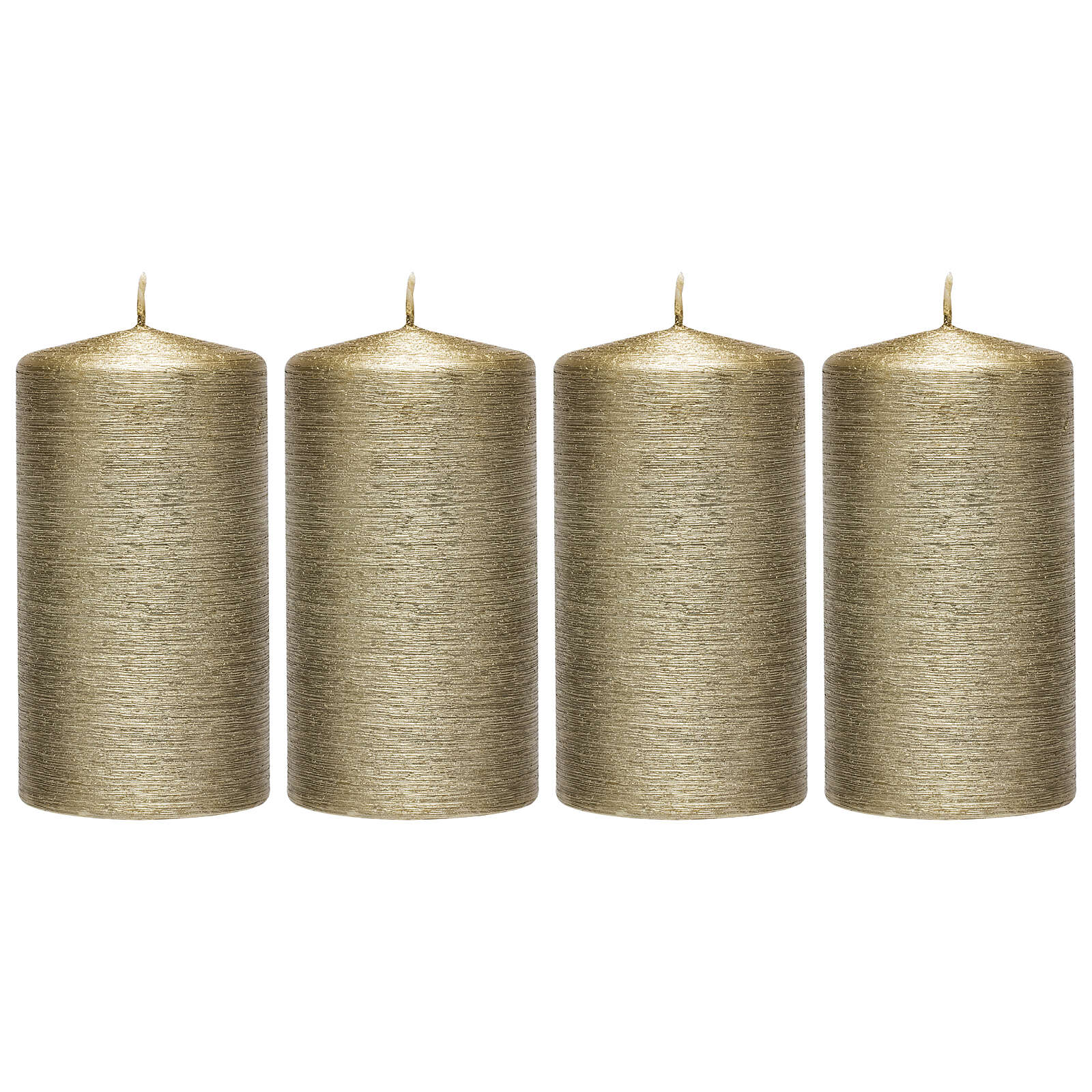 Christmas candles, satin gold, set of 4, 150x60 mm 3