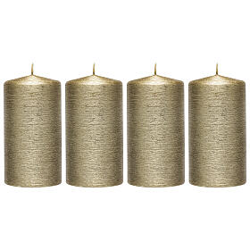 Christmas candles, satin gold, set of 4, 130x70 mm s1