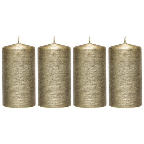Christmas candles, satin gold, set of 4, 130x70 mm 1