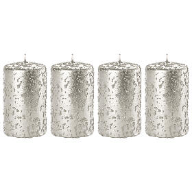 Christmas candles, glittery silver, set of 4, 100x60 mm s1