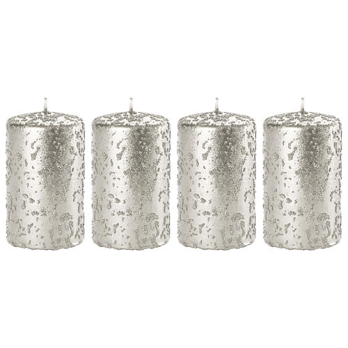Christmas candles, glittery silver, set of 4, 100x60 mm 1