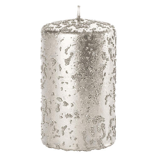 Christmas candles, glittery silver, set of 4, 100x60 mm 2