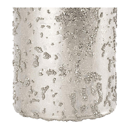 Christmas candles, glittery silver, set of 4, 100x60 mm 3