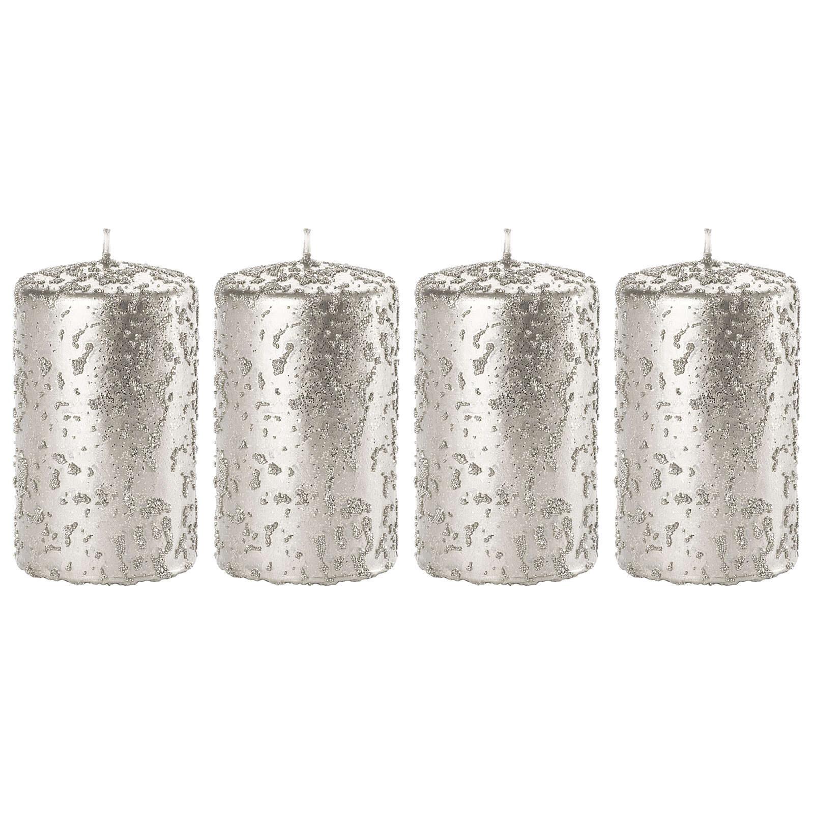 Christmas candles, set of 4, glittery silver, 150x70 mm 3