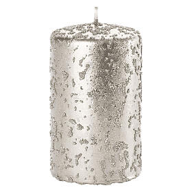 Christmas candles, set of 4, glittery silver, 150x70 mm s2