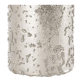 Christmas candles, set of 4, glittery silver, 150x70 mm s3