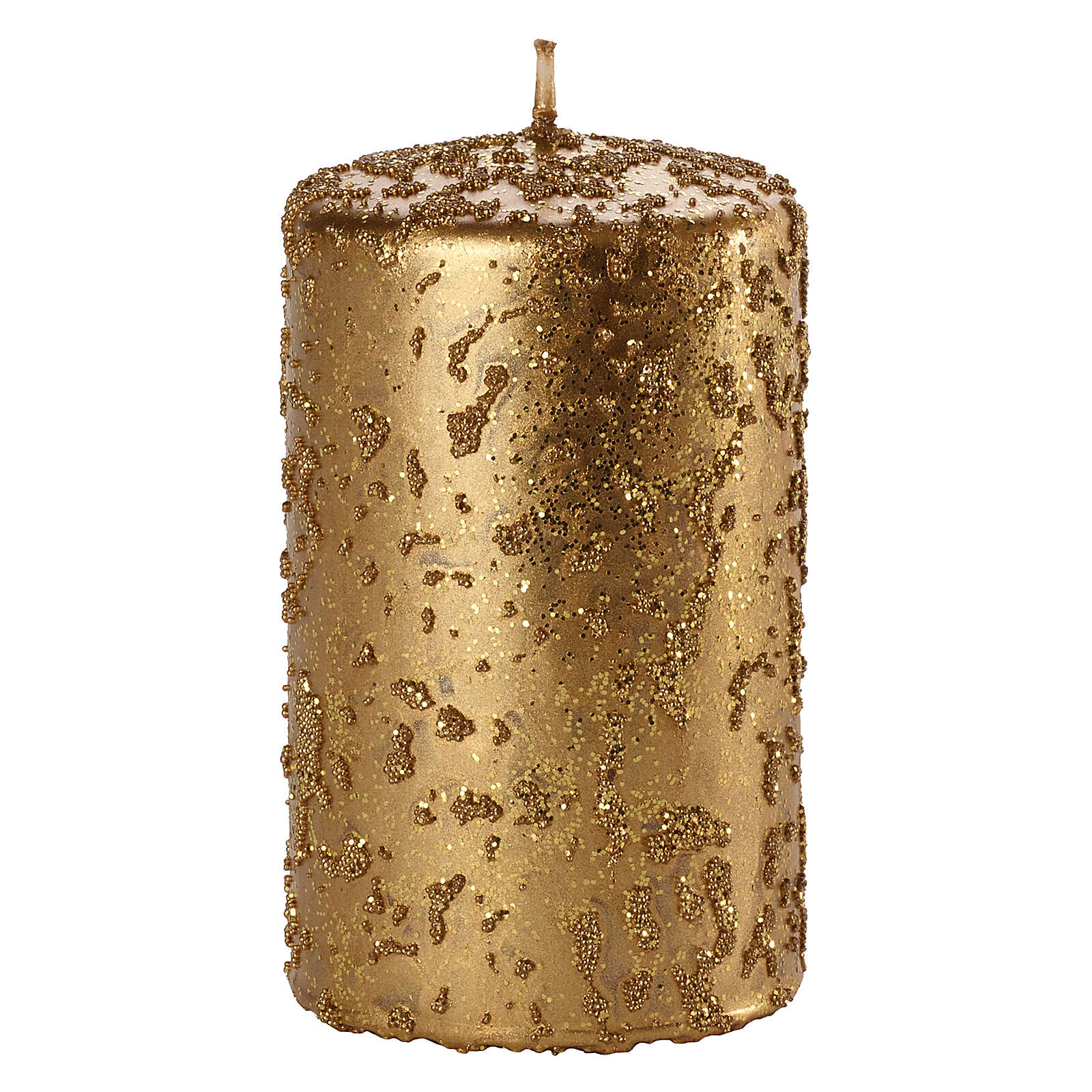 Christmas candles, set of 4, old gold with glitter, 100x60 mm 3