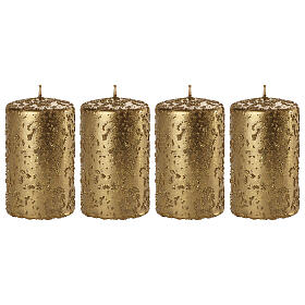 Christmas candles, set of 4, old gold with glitter, 100x60 mm s1