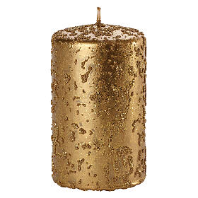 Christmas candles, set of 4, old gold with glitter, 100x60 mm s2