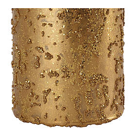 Christmas candles, set of 4, old gold with glitter, 100x60 mm s3