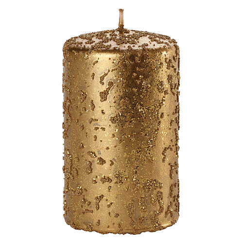 Christmas candles, set of 4, old gold with glitter, 100x60 mm 2