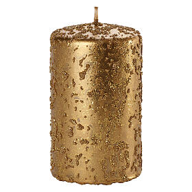 Christmas candles, old gold with glitter, set of 4, 150x70 mm s2