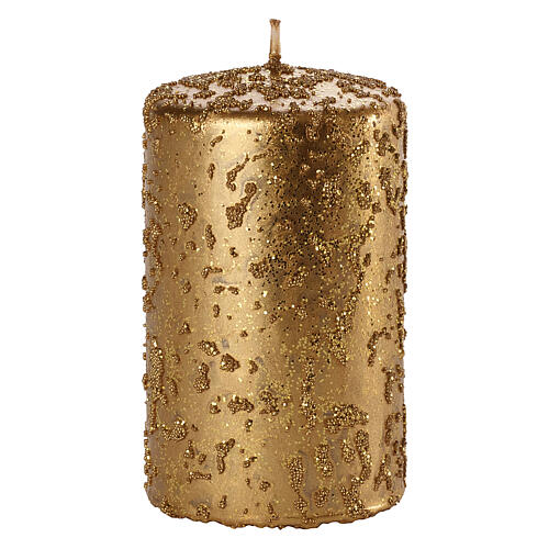 Christmas candles, old gold with glitter, set of 4, 150x70 mm 2