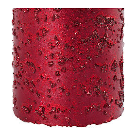 Christmas candles, set of 4, red with glittery flakes, 100x60 mm s3