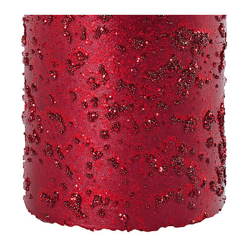Christmas candles, set of 4, red with glittery flakes, 100x60 mm 3