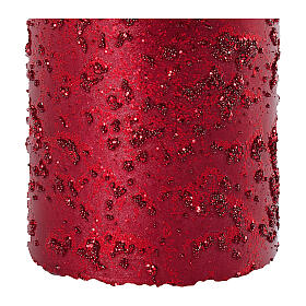 Christmas candles, set of 4, red ruby with glitter, 150x70 mm s3