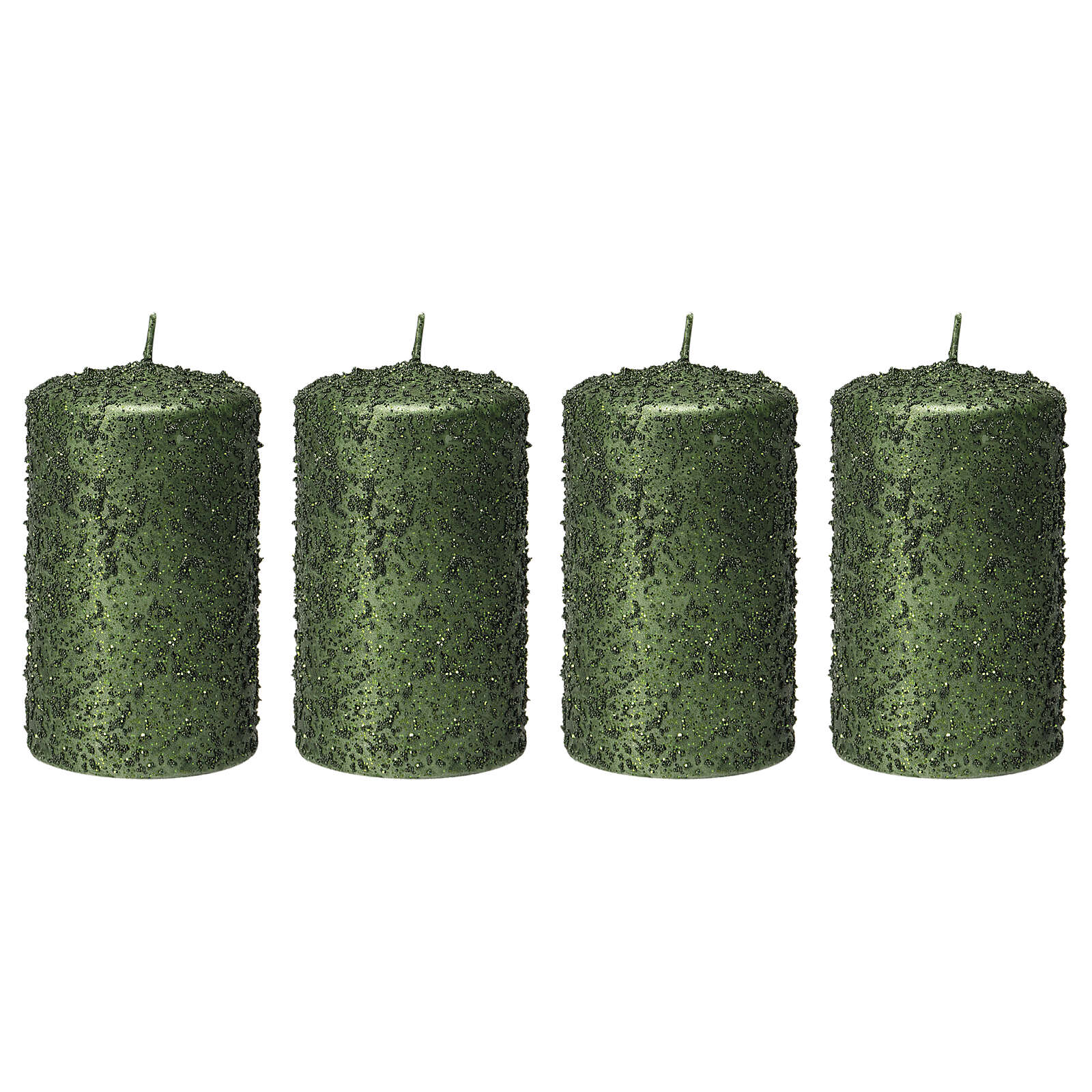 Christmas candles, set of 4, green with glitter, 100x60 mm 3