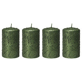 Christmas candles, set of 4, green with glitter, 100x60 mm s1