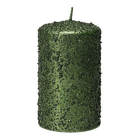 Christmas candles, set of 4, green with glitter, 100x60 mm s2