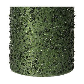 Christmas candles, set of 4, green with glitter, 100x60 mm s3