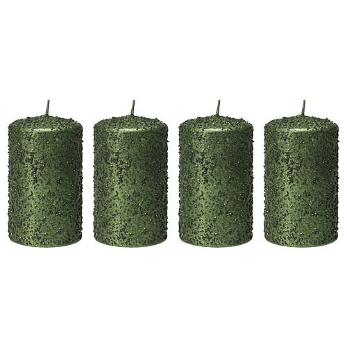 Christmas candles, set of 4, green with glitter, 100x60 mm 1