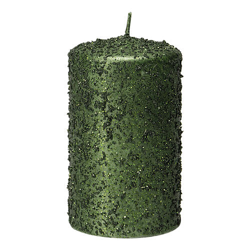 Christmas candles, set of 4, green with glitter, 100x60 mm 2