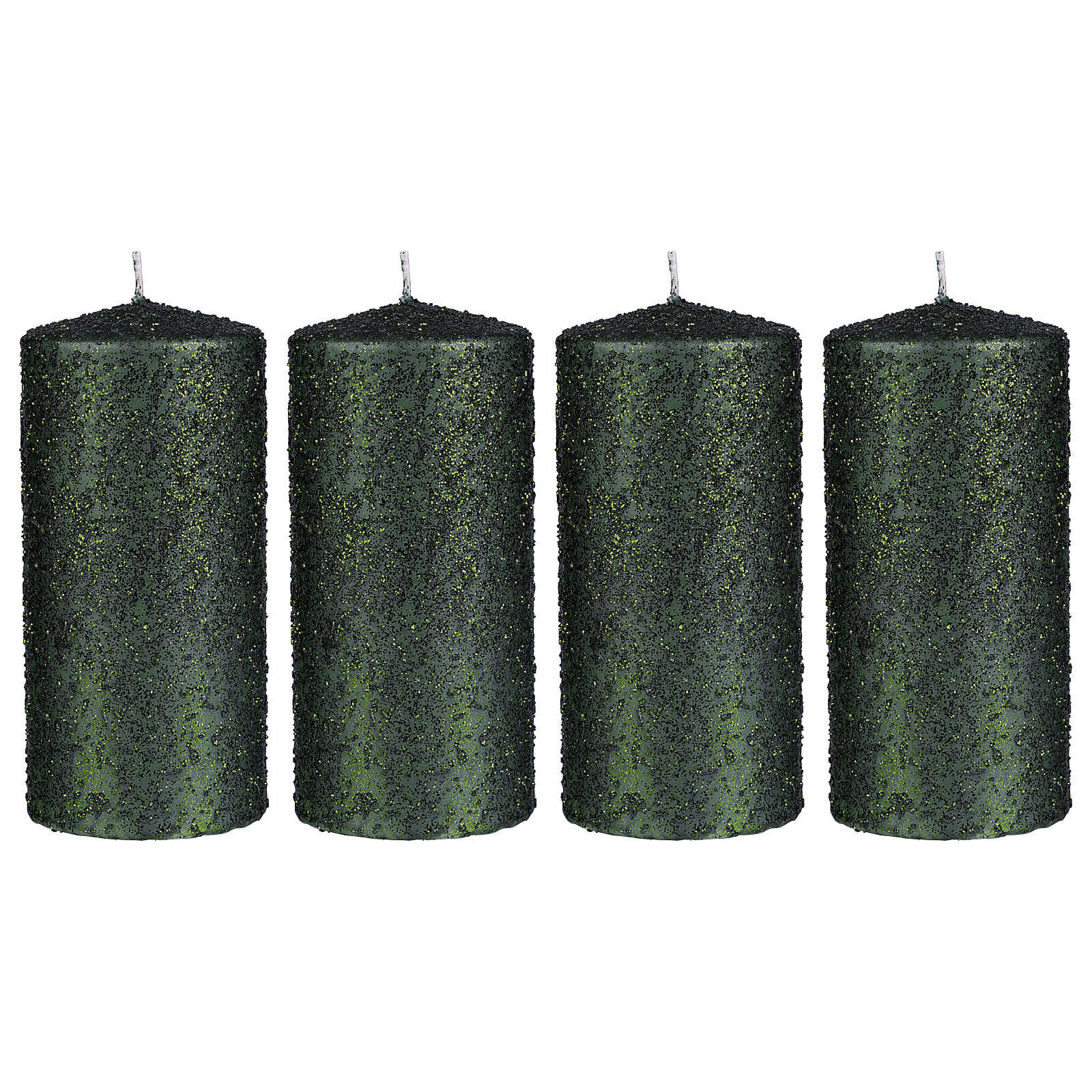 Christmas candles, set of 4, green with glittery flakes, 150x70 mm 3