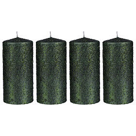 Christmas candles, set of 4, green with glittery flakes, 150x70 mm s1