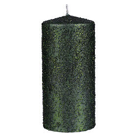 Christmas candles, set of 4, green with glittery flakes, 150x70 mm s2