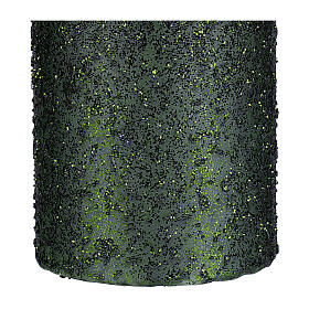Christmas candles, set of 4, green with glittery flakes, 150x70 mm s3