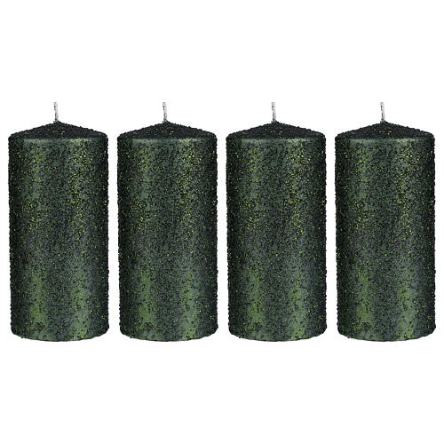Christmas candles, set of 4, green with glittery flakes, 150x70 mm 1