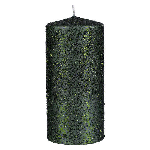 Christmas candles, set of 4, green with glittery flakes, 150x70 mm 2