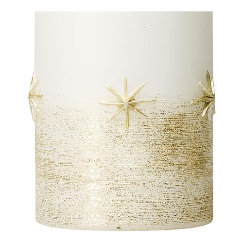 White Christmas candles, set of 4, golden stars, 100x60 mm 2