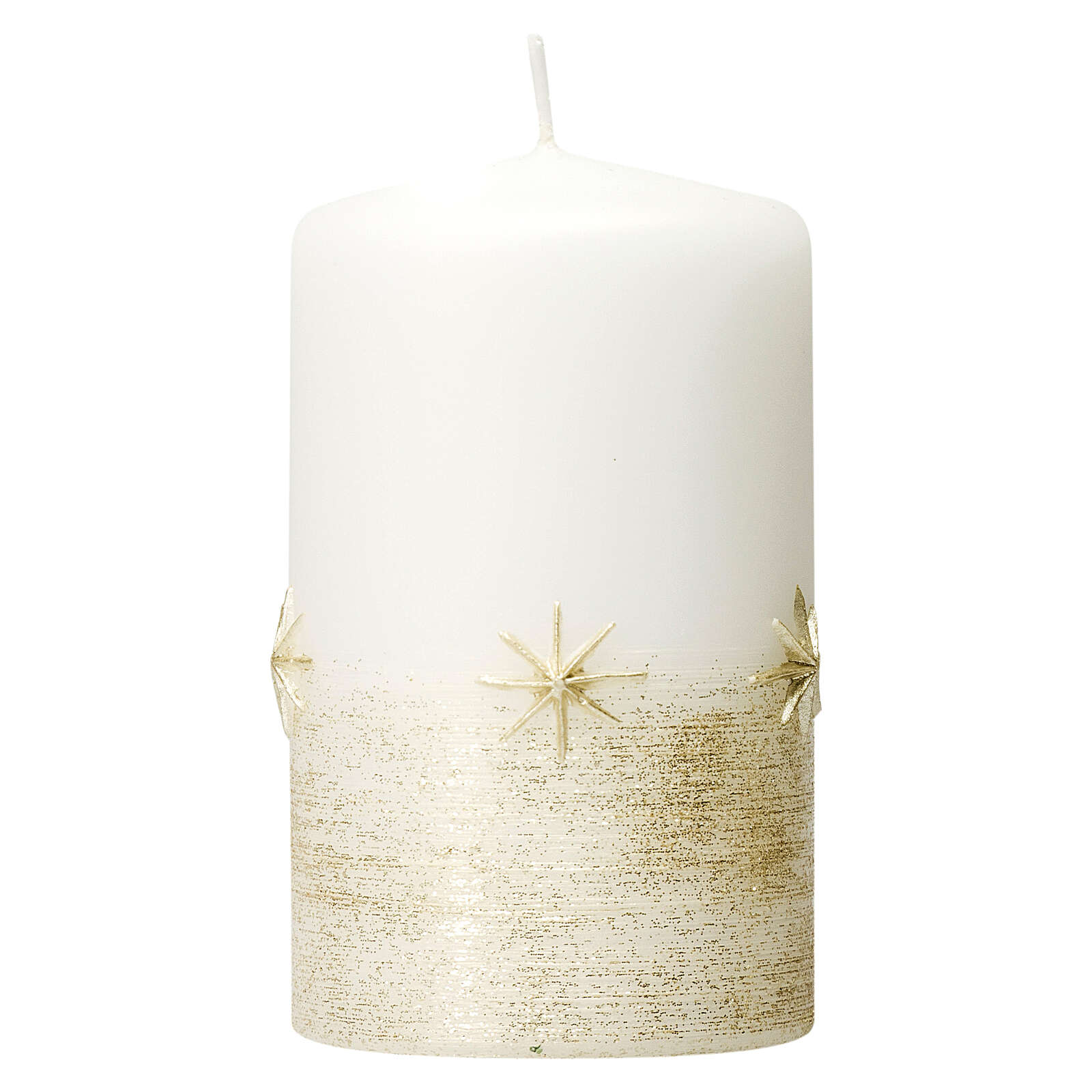 Christmas candles, set of 4, white with golden stars, 150x70 mm 3