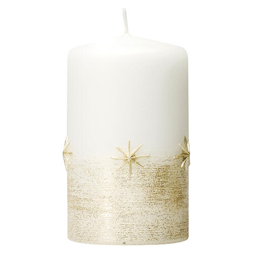 Christmas candles, set of 4, white with golden stars, 150x70 mm 1