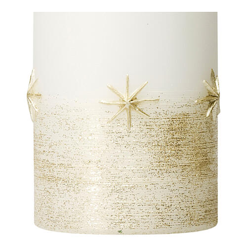 Christmas candles, set of 4, white with golden stars, 150x70 mm 2