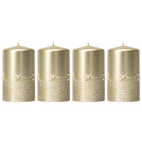 Christmas candles, set of 4, gold with stars, 150x70 mm s1