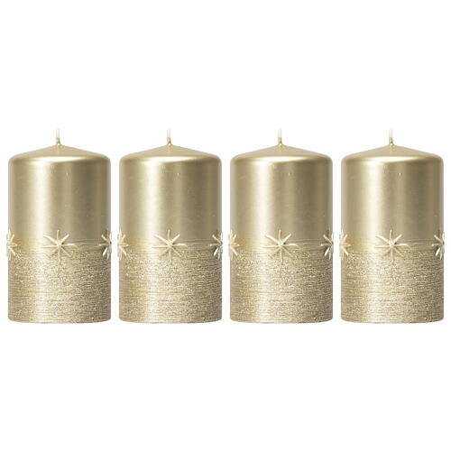 Christmas candles, set of 4, gold with stars, 150x70 mm 1