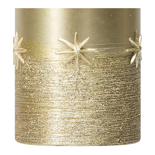 Christmas candles, set of 4, gold with stars, 150x70 mm 3