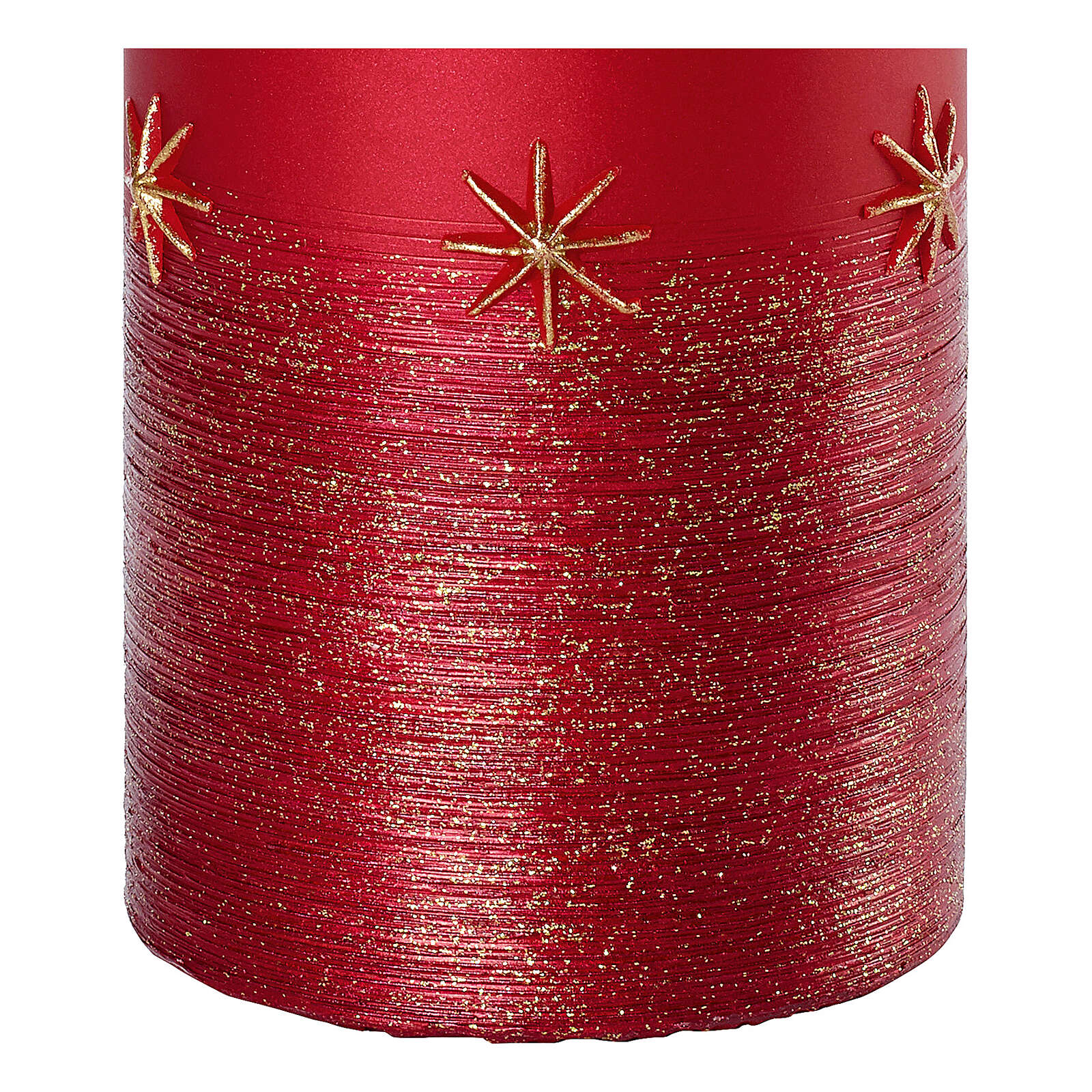 Red candles, set of 4, golden stars, 150x70 mm 3