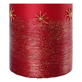 Red candles, set of 4, golden stars, 150x70 mm s3