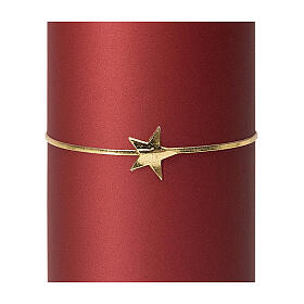 Red Christmas candles, set of 4, golden star, 100x50 mm s3