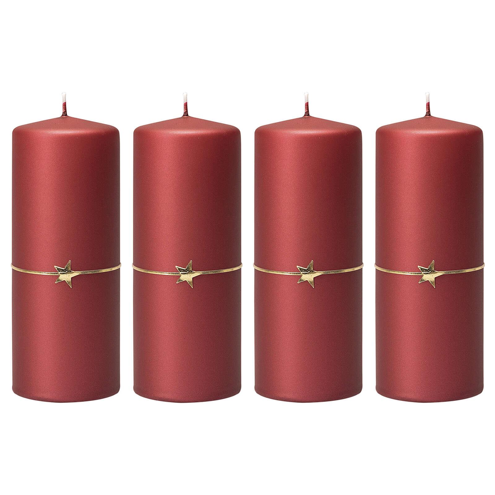 Matt red candles, set of 4, golden star, 150x60 mm 3