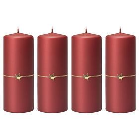 Matt red candles, set of 4, golden star, 150x60 mm s1