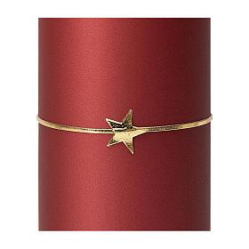 Matt red candles, set of 4, golden star, 150x60 mm s3